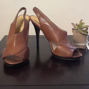 Michael Michael Kors Leather Peep Toe Heels